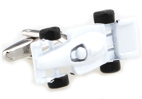 White Car Cufflinks - F1 Racer (White)