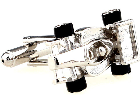 Novelty Cufflinks - F1 Racer (Silver) - The Little Link