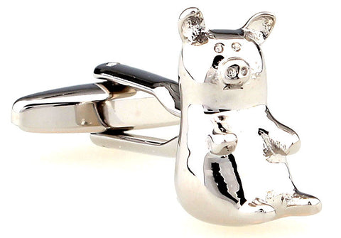 Silver Animal Cufflinks - Piglet