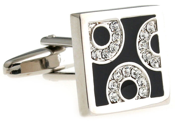 Silver and Black Crystal Cufflink - Threesome