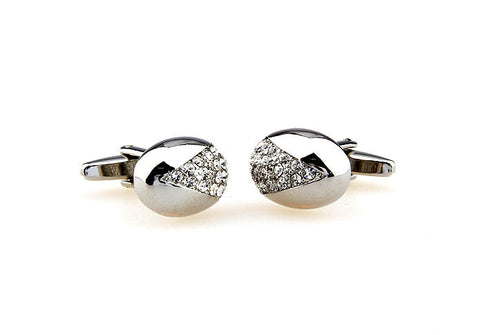 Silver Oval Crystal Cufflinks - Diamante