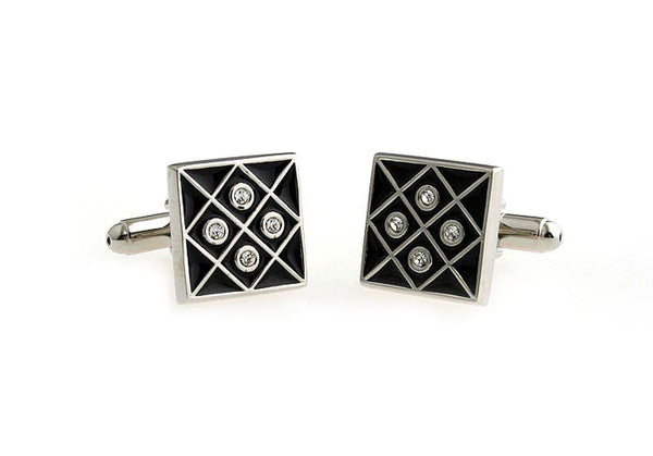 Silver and Black Crystal Cufflinks