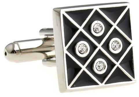 Black and Silver Square Crystal Cufflinks - Foursome