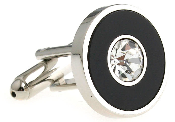 Silver and Black Round Crystal Cufflinks - Diamond Topaz (White)