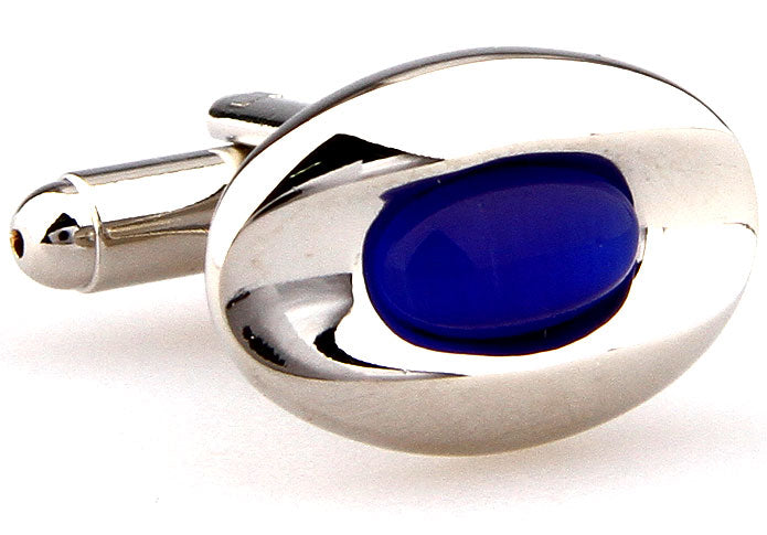 Silver and Blue Classic Cufflinks - The Golden Drop