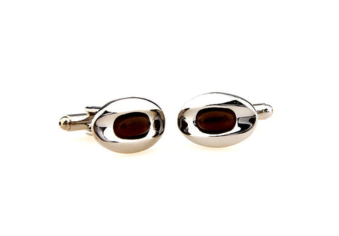Silver and Black Oval Crystal Cufflinks - Rihanna's Eye