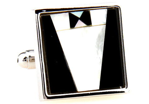 Black and White Pearl Cufflinks - James Bond's Tuxedo