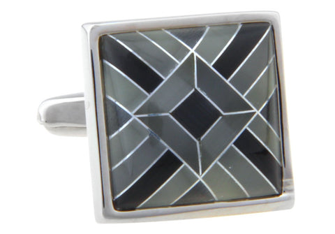 Black and Grey Square Classic Cufflinks - Fifty One Shades