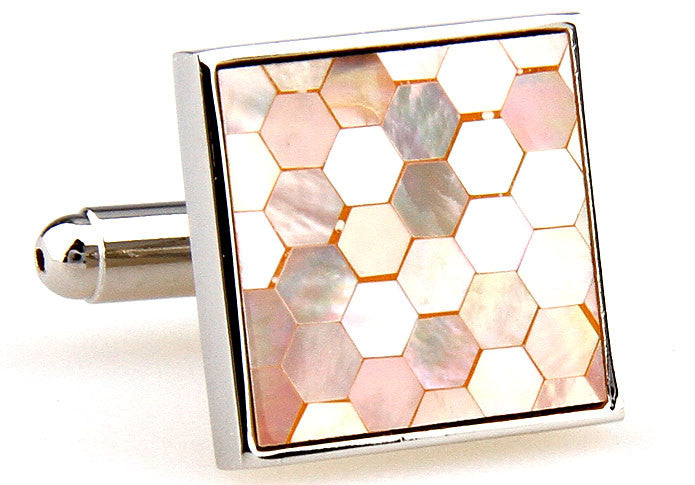 Rose Gold Square Pearl Cufflinks - Seashell