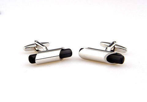 Silver and Black Classic Cufflinks - The Elder's Scroll