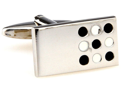 Silver Rectangle Novelty Cufflinks - Tic Tac