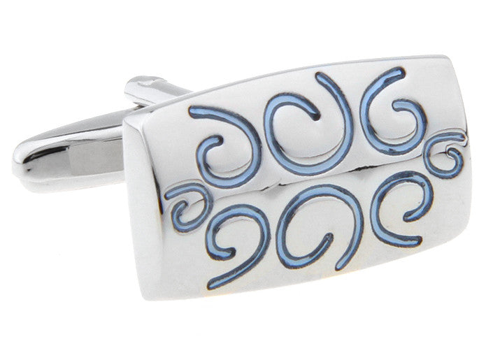 Silver and Blue Novelty Cufflinks - Squiggle