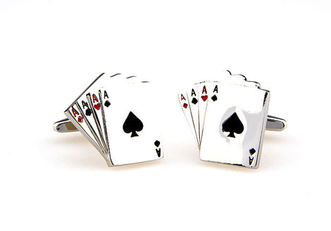 Silver and White Poker Cufflinks - Four of a Kind