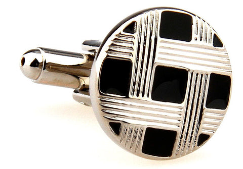 Silver and Black Classic Round Cufflinks - Intertwined