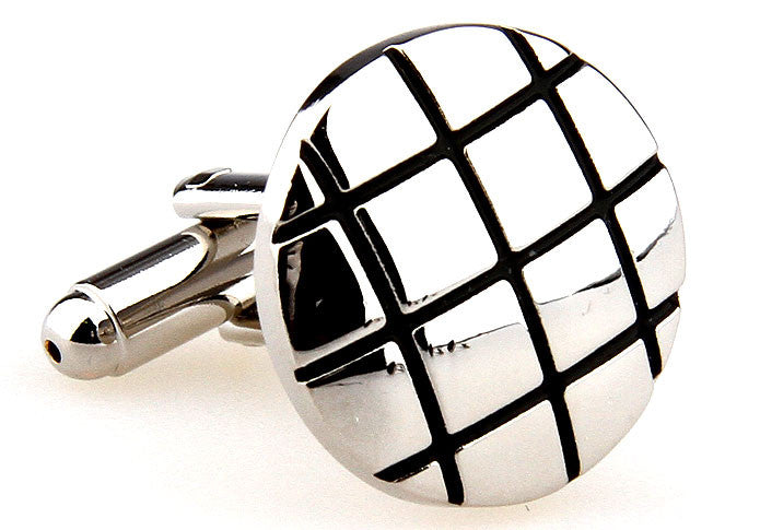 Silver and Black Round Classic Cufflinks - Silverback