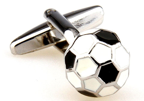 Black and White Soccer Cufflinks - The Ball is Round