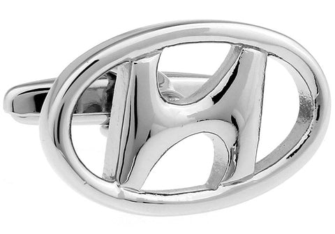 Novelty Cufflinks - Hyundai Logo (silver) - The Little Link