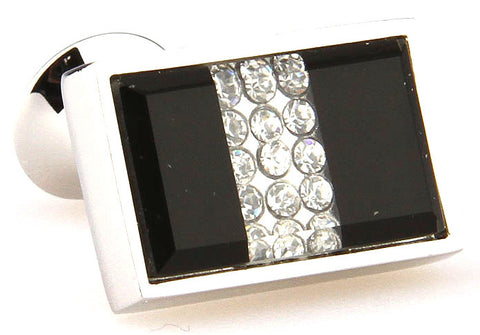 Black Rectangle Crystal Cufflinks - Dragon