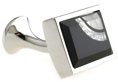 Classic Cufflinks - Black Rectangle Crystal Cufflinks - Crescent - The Little Link