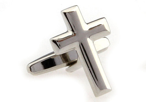 Classic Cufflinks - Silver Christian Cufflinks - Cross - The Little Link