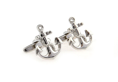 Novelty Cufflinks - Silver Novelty Cufflinks - Captain Haddock's Anchor - The Little Link