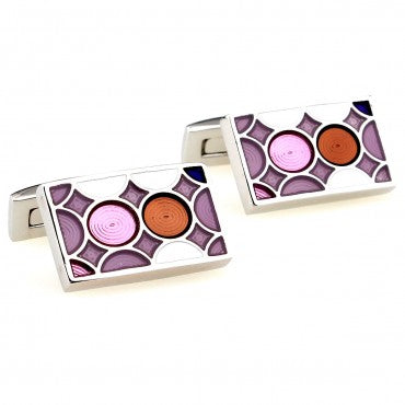 Red and Pink Rectangle Classic Cufflinks - Hive