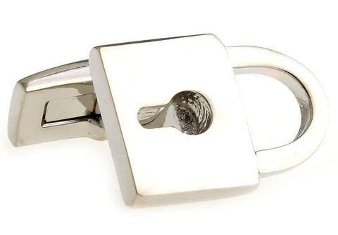 Silver Novelty Cufflinks - Lock