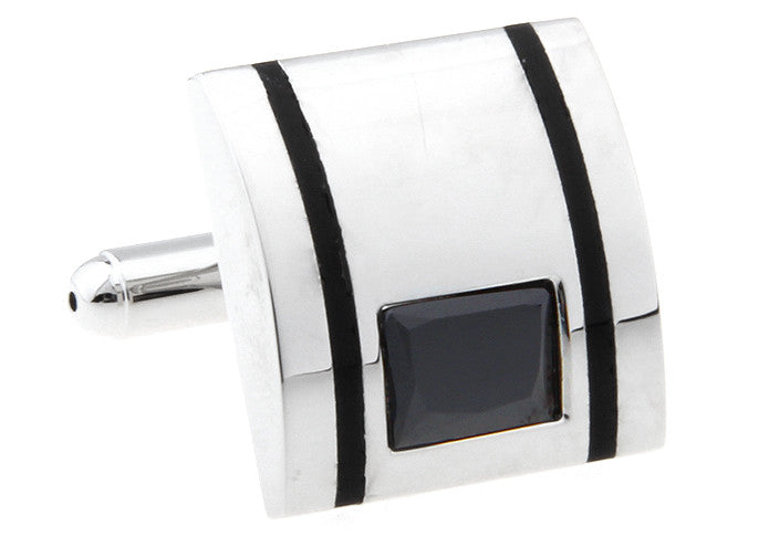 Silver and Black Rectangle Crystal Cufflinks - Nano