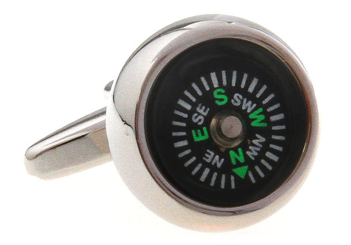 Silver and Black Novelty Cufflinks - Compass (Black)