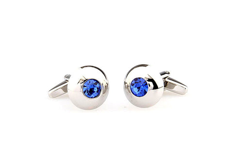 Classic Cufflinks - Silver and Blue Round Crystal Cufflinks - Blue Topaz - The Little Link