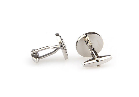 Silver and Black Circle Classic Cufflinks - Illusive