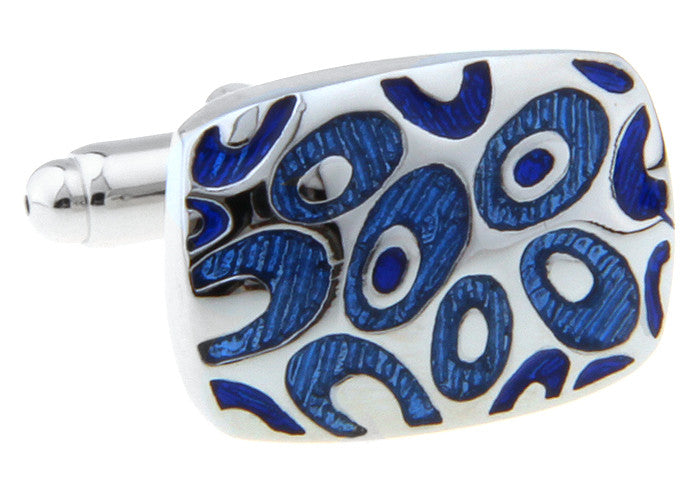 Silver and Blue Rectangle Classic Cufflinks - Maven
