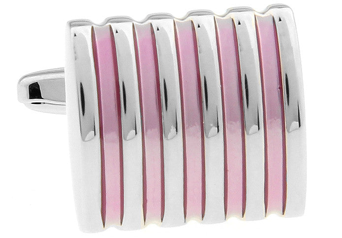 Silver and Pink Classic Stripe Cufflinks - Pink Laser