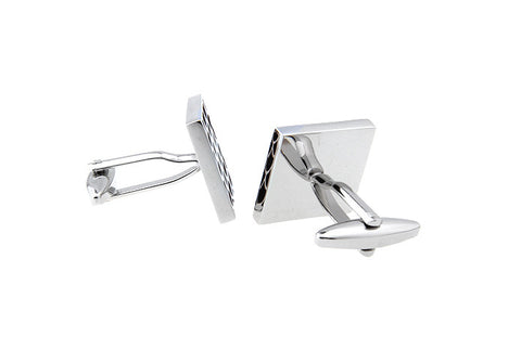 Black and Silver Square Classic Cufflinks - Dragon Scales