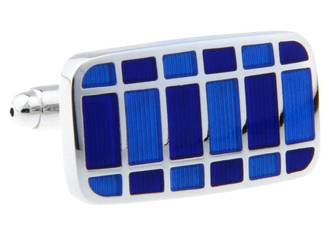 Classic Cufflinks - Blue Checkered Rectangle Cufflinks - Blue Room - The Little Link