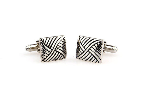 Silver and Black Square Classic Cufflinks - Mesh