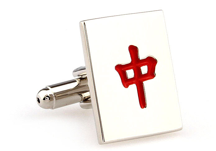 Red and White Novelty Cufflinks - Mahjong Zhong