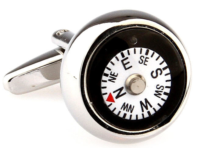 Silver and White Novelty Cufflinks - Compass (White)