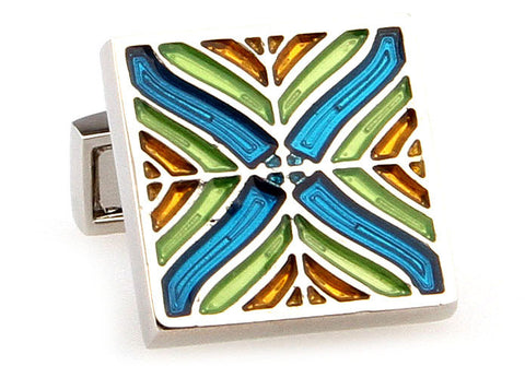 Colourful Novelty Cufflinks - Stained Glass