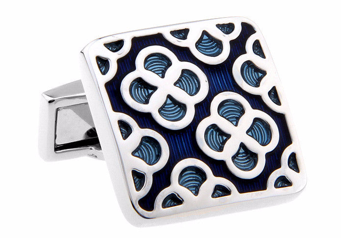 Blue Classic Square Flower Cufflinks - Blue Blooms