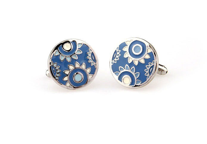 Classic Cufflinks - Sunflowers (Blue) - The Little Link