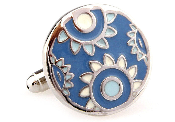 Blue Round Flower Cufflinks - Sunflowers (Blue)