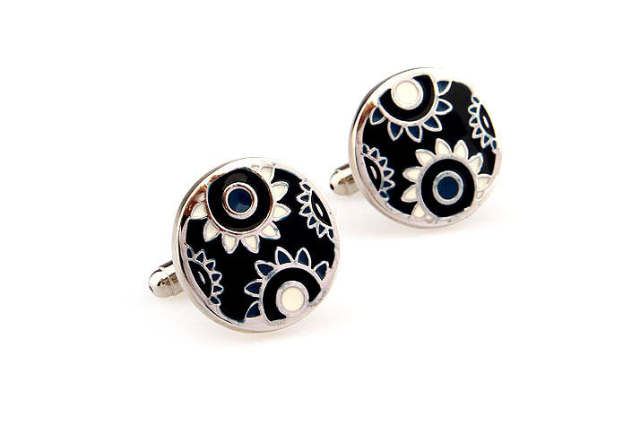 Classic Cufflinks - Sunflowers (Black) - The Little Link