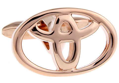 Rose Gold Cars Cufflinks - Toyota Logo (Rose Gold)