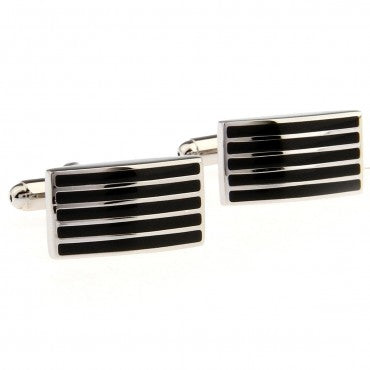 Black and Silver Classic Stripe Cufflinks - Zebra