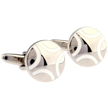 Classic Cufflinks - Silver and White Round Classic Cufflinks - Blink (White) - The Little Link