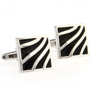 Black and Silver Square Classic Cufflinks - Ripples