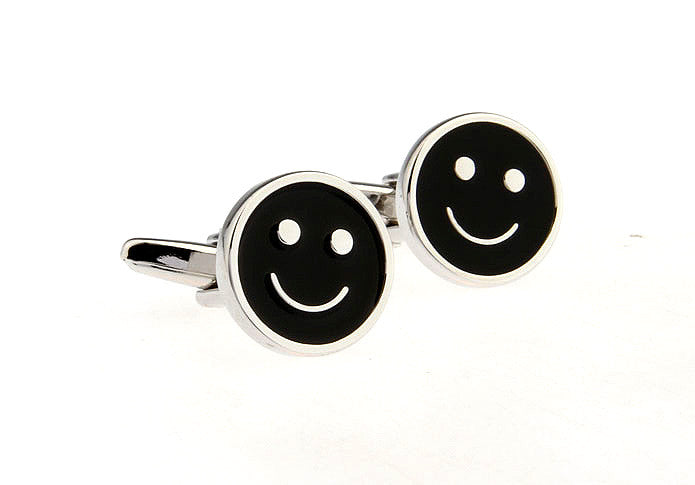 Novelty Cufflinks - Smiley (Black) - The Little Link