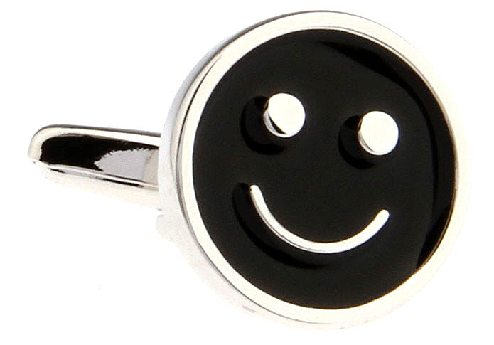 Black Round Novelty Cufflinks - Smiley
