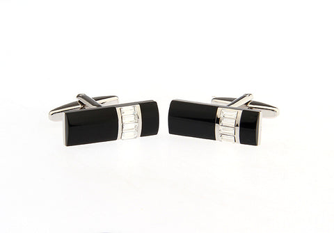 Black and SIlver Rectangle Crystal Cufflinks - Opulence